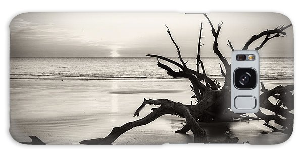 Morning Sun On Driftwood Beach In Black And White Galaxy Case