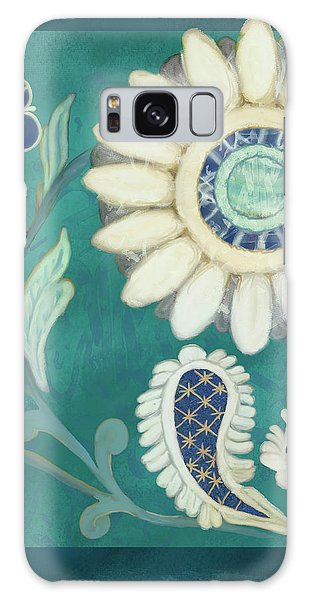 Galaxy Case featuring the painting Moroccan Paisley Peacock Blue 2 by Audrey Jeanne Roberts
