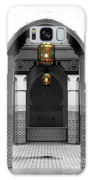 Moroccan Style Doorway Lamps Courtyard And Fountain Color Splash Black And White Galaxy Case by Shawn O'Brien
