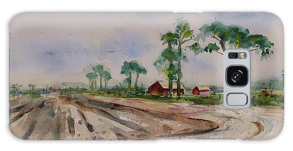 Galaxy Case featuring the painting Moss Landing Pine Trees Farm California Landscape 1 by Xueling Zou