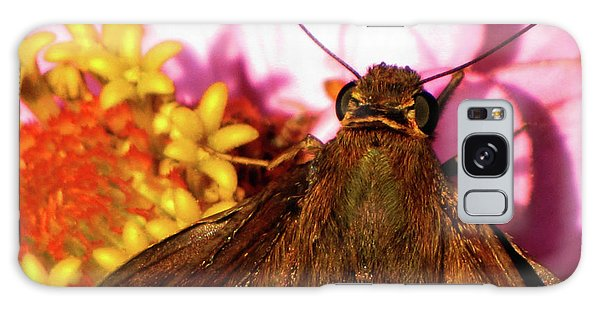 Moth On Pink And Yellow Flowers Galaxy Case