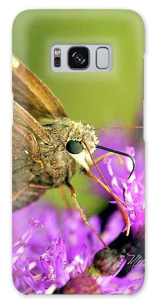 Moth On Purple Flower Galaxy Case