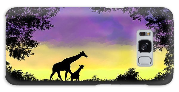 Mother And Baby Giraffe At Sunset Galaxy Case