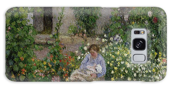 Shrub Galaxy Case - Mother And Child In The Flowers by Camille Pissarro