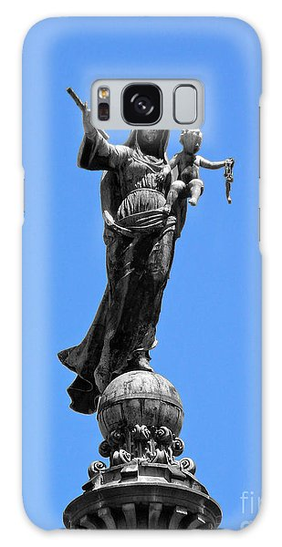 Mother And Child Rooftop Statue Galaxy Case