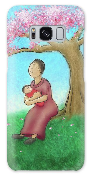 Mother And Child With Cherry Blossoms Galaxy Case
