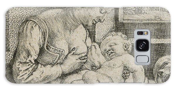 Pen And Ink Drawing Galaxy Case - Mother And Child With Skull And Hourglass by Barthel Beham