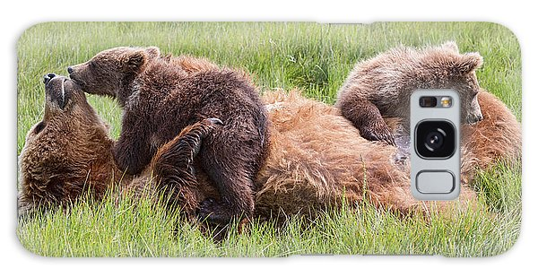 Mother Grizzly Suckling Twin Cubs Galaxy Case