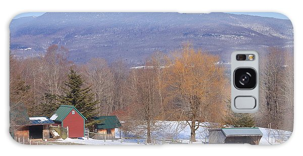 Mount Abraham And Winter Farm Green Mountains Galaxy Case by John Burk