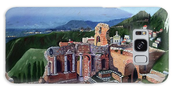 Mount Etna And Greek Theater In Taormina Sicily Galaxy Case