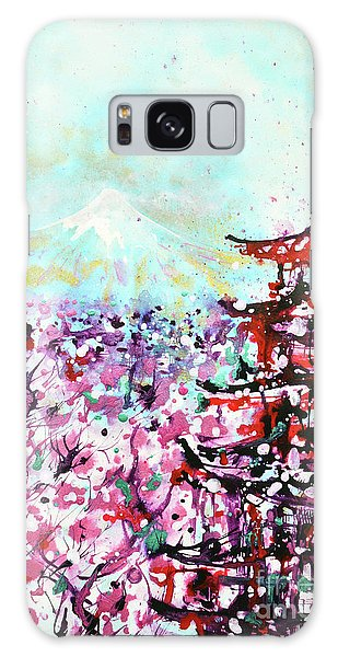 Galaxy Case featuring the painting Mount Fuji And The Chureito Pagoda In Spring by Zaira Dzhaubaeva