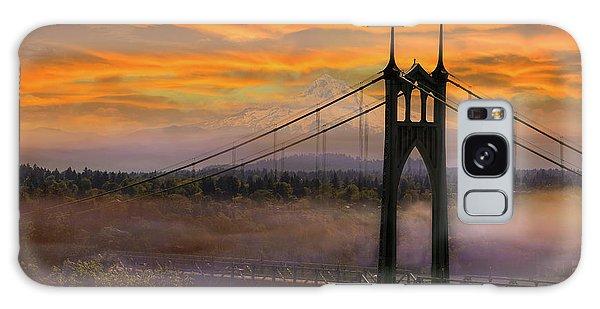 Mount Hood By St Johns Bridge During Sunrise Galaxy Case