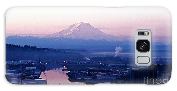 Mount Rainier Dawn Above Port Of Tacoma Galaxy Case