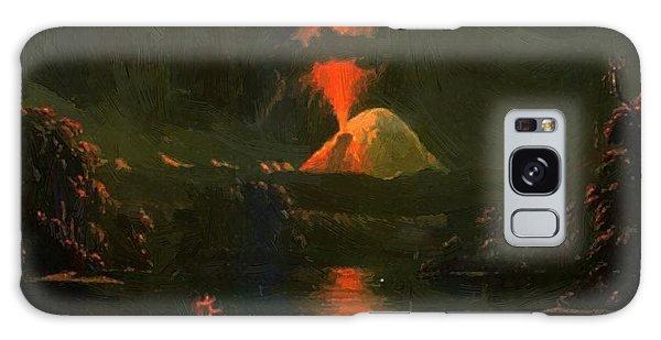 Mount St Helens Erupting At Night Galaxy Case