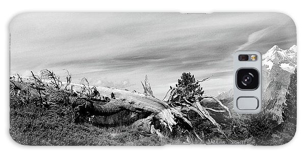 Mountain Landscape With Fallen Tree And View At Alps In Switzerland Galaxy Case