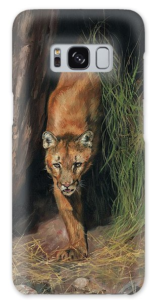 Mountain Lion Emerging From Shadows Galaxy Case by David Stribbling