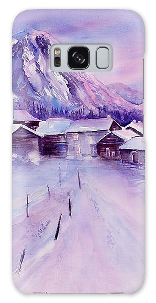 Mountain Village In Snow Galaxy Case