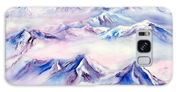 Flying Over Snowy Mountains Galaxy Case