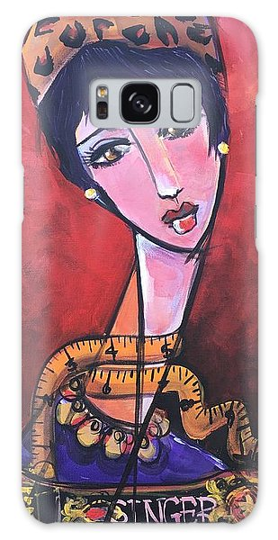 Galaxy Case featuring the painting Ms. Bimba Fashionable Seamstress by Laurie Maves ART
