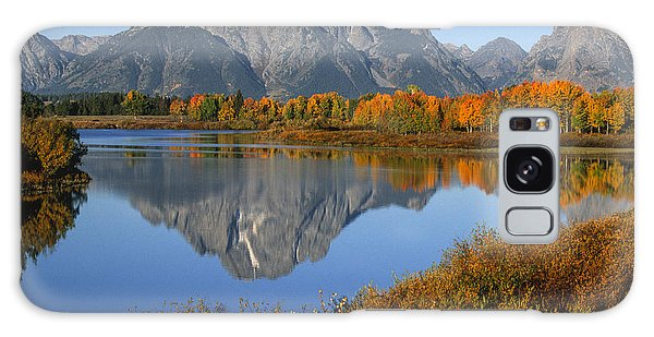 Teton Range Galaxy Case - Mt. Moran Fall Reflection  by Sandra Bronstein