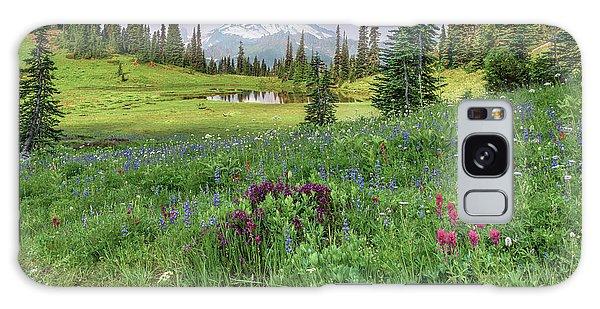 Mt Rainier Meadow Flowers Galaxy Case