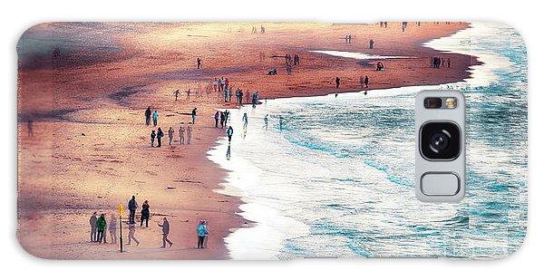 multiple exposure of people on North sea beach  Galaxy Case