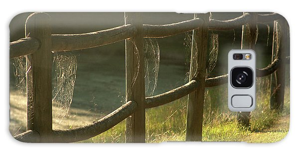 Multiple Spiderwebs On Wooden Fence Galaxy Case