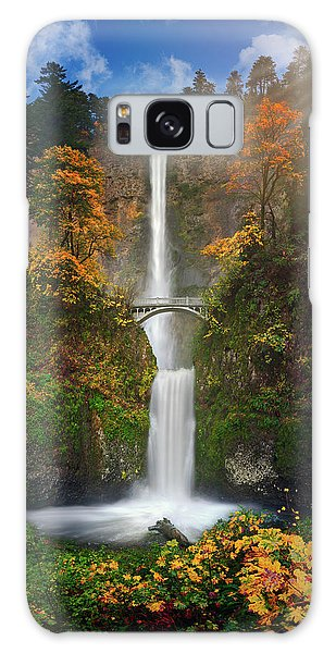 Multnomah Falls In Autumn Colors -panorama Galaxy Case by William Lee