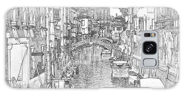 Galaxy Case - Murano Canal Pen And Ink 4329 by Bob Neiman