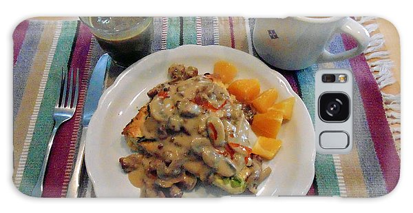 Mushroom Gravy Over Breakfast Quiche  Galaxy Case by Jana Russon