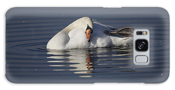 Mute Swan Resting In Rippling Water Galaxy Case