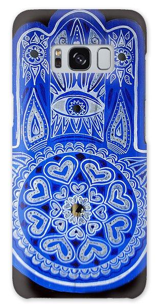 My Blue Hamsa Galaxy Case by Patricia Arroyo