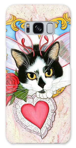 My Feline Valentine Tuxedo Cat Galaxy Case by Carrie Hawks