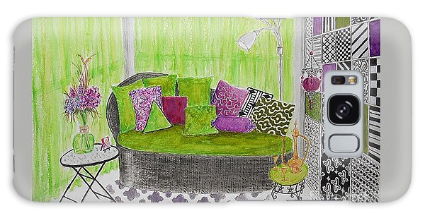 My Happy Place -- Drawing Of Colorful Moroccan Porch Galaxy Case