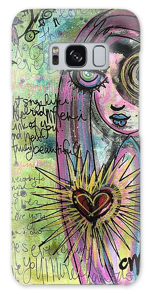 Galaxy Case featuring the painting My Heart Sings Like This Little Bird by Laurie Maves ART