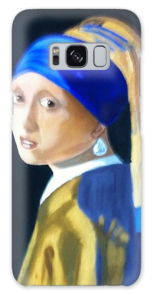 My Version-girl With The Pearl Earring Galaxy Case by Rod Jellison