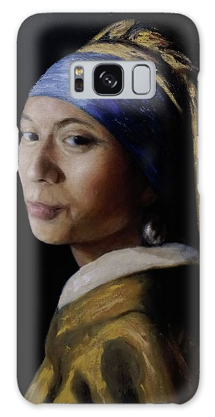 Girl With A Pearl Earring Galaxy Case - My Wife With A Pearl Earring by Enriqueto Sabio