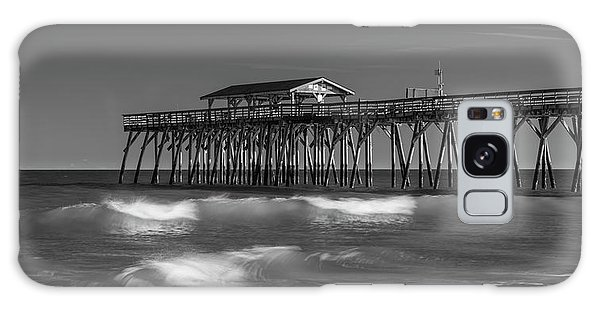 Myrtle Beach Pier Panorama In Black And White Galaxy Case