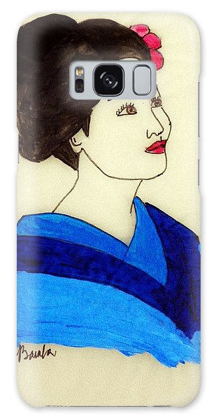 Lady In Blue Kimono Galaxy Case
