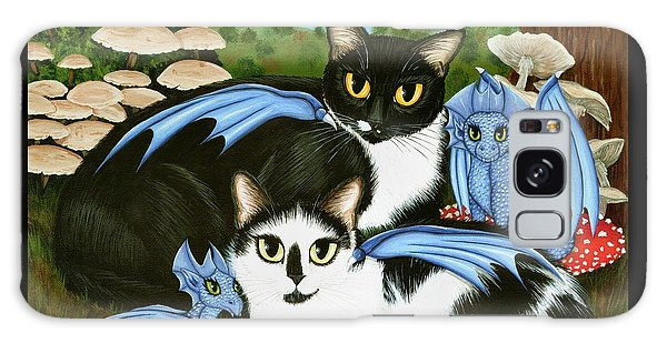 Galaxy Case featuring the painting Nami And Rookia's Dragons - Tuxedo Cats by Carrie Hawks