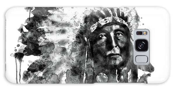 Indian Head Galaxy Case - Native American Chief Black And White by Marian Voicu