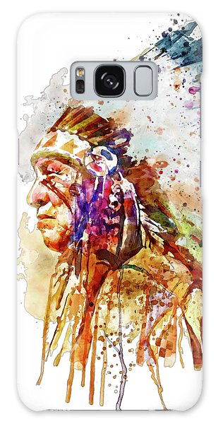 Native American Galaxy Case - Native American Chief Side Face by Marian Voicu
