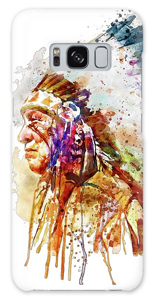 Native American Chief Side Face Galaxy Case by Marian Voicu
