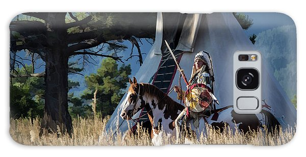 Native American In Full Headdress In Front Of Teepee Galaxy Case by Nadja Rider