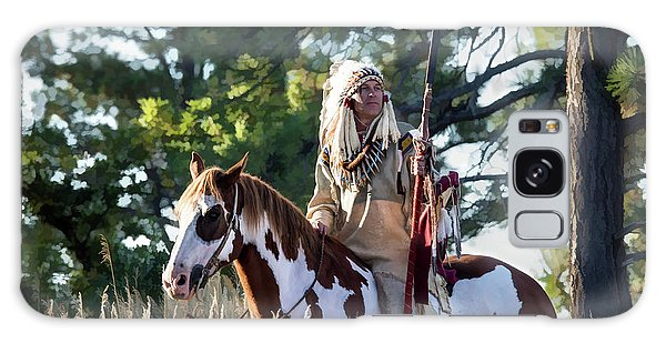 Native American In Full Headdress On A Paint Horse Galaxy Case