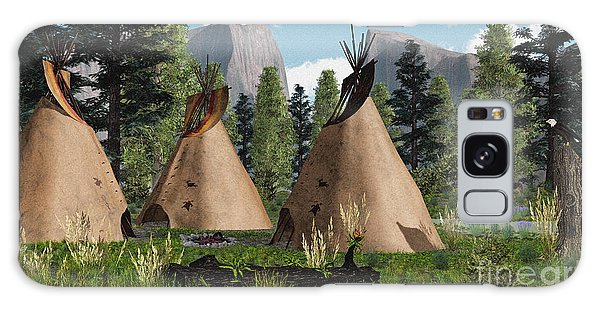 Native American Mountain Tepees Galaxy Case by Walter Colvin
