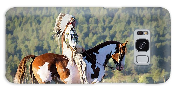 Native American On His Paint Horse Galaxy Case