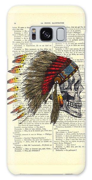 Native American Galaxy Case - Native American Skull by Madame Memento