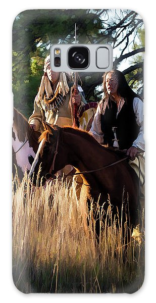 Native Americans On Horses In The Morning Light Galaxy Case