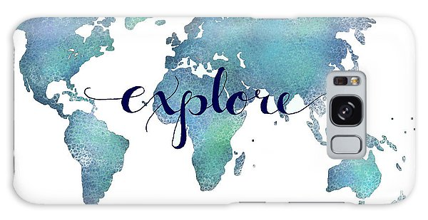 Quote Galaxy Case - Navy And Teal Explore World Map by Michelle Eshleman